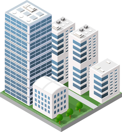 等尺性都市住宅、街の建物と高層ビル。運動と旅行のナビゲーション ポインターの矢印の方向。 写真素材 - 67085482