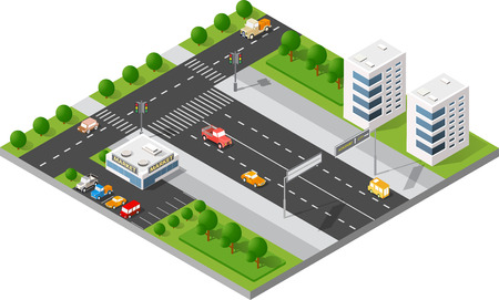 intersection: Transportation city streets intersection with houses and trees. Isometric view from above on a city transport