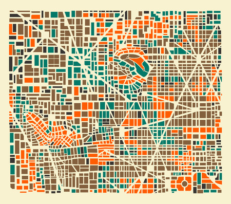 Background city map pattern repeating urban streets, houses and buildings 免版税图像 - 68017425