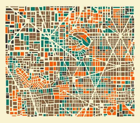 Modelo del fondo plano de la ciudad repitiendo calles urbanas, casas y edificios Ilustración de vector