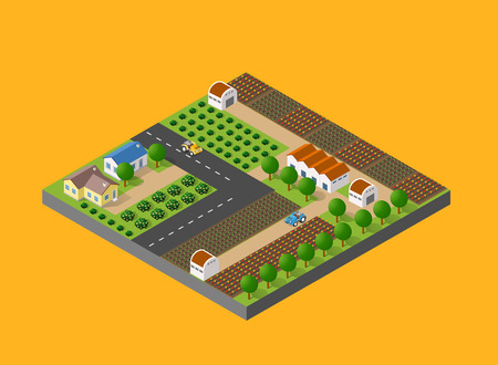 world agricultural: Isometric farm with the houses, streets and buildings. The three-dimensional top view of a rural landscape with nature and with the town streets