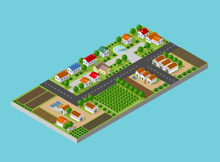 Isometric farm with the houses, streets and buildings. The three-dimensional top view of a rural landscape with nature and with the town streets