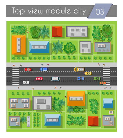 city view: Highway road section with cars and transport top view. City driveway Illustration