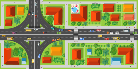 Highway junction roads with cars and transport top view. City intersection with houses, streets and trees