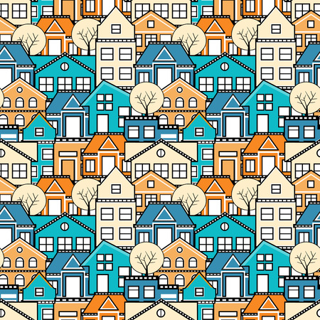 City seamless pattern. Town houses and streets, roofs of houses. Ilustração
