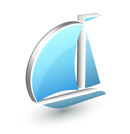 signs and symbols: Boat yacht icon 3D online signs and symbols