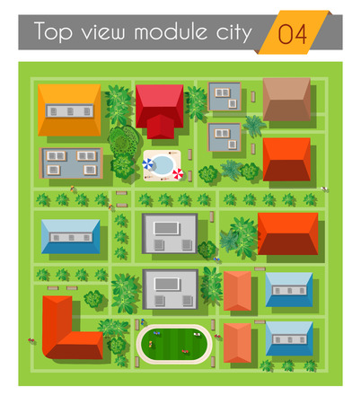 city view: Landscape of the city top view of the houses, streets, gardens and town parks