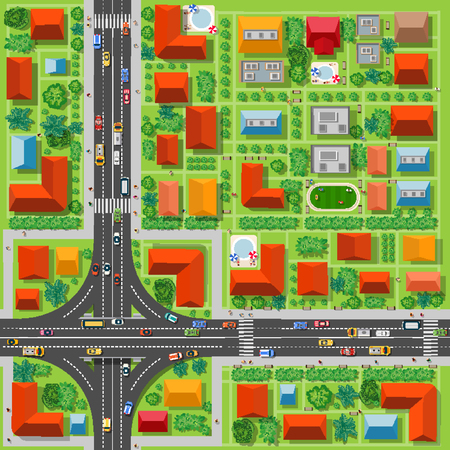 view from above: Top view of a highway junction and a traffic intersection in the city with houses, trees and streets