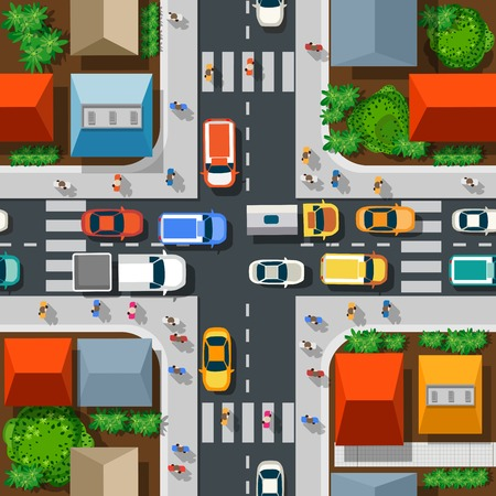 Seamless pattern of the urban landscape. Top view of a highway junction and a traffic intersection in the city with houses, trees and streets