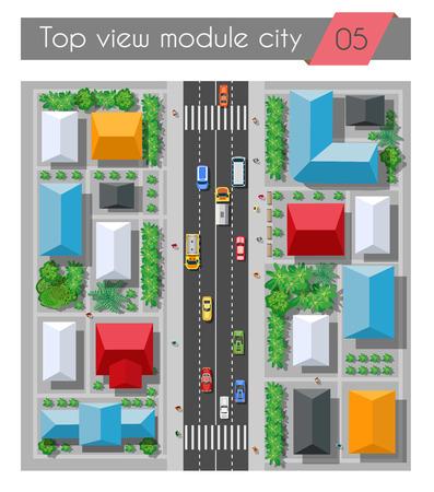 Bovenaanzicht van een snelweg in de stad met huizen bomen en straten