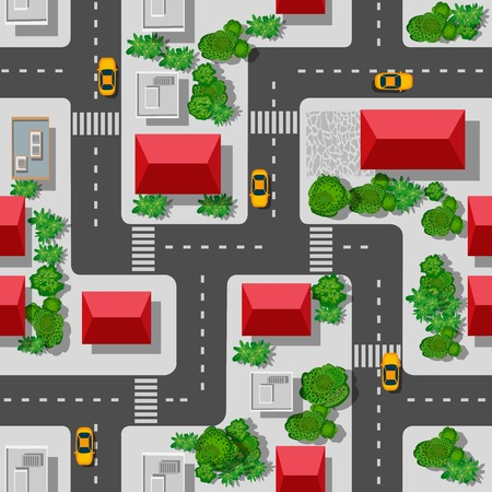 city view: Seamless pattern of the urban landscape. Top view of a highway junction and a traffic intersection in the city with houses, trees and streets