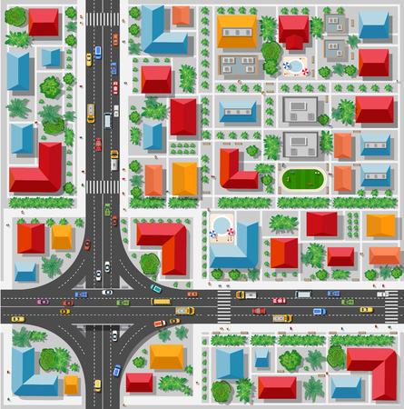 Bovenaanzicht van een knooppunt en een verkeersknooppunt in de stad met huizen, bomen en straten