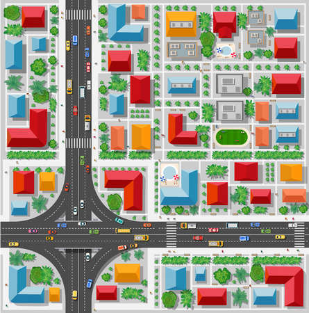 Top view of a highway junction and a traffic intersection in the city with houses, trees and streets
