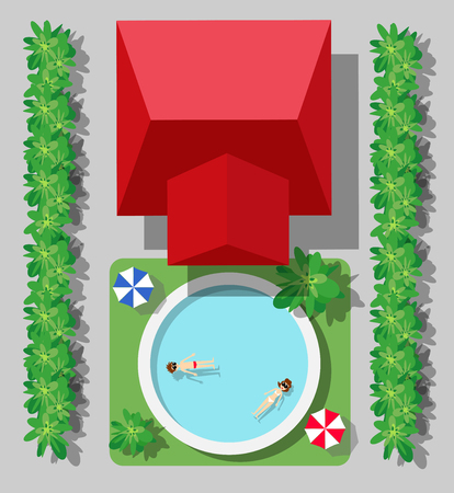 Top view of a country house with a pool and trees