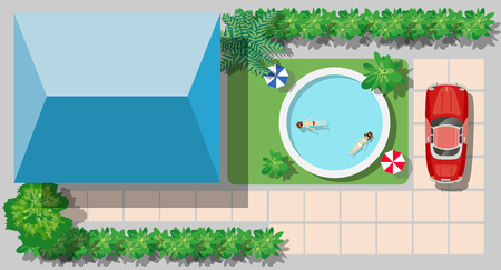 interior decoration: Top view of a country house with a pool and trees