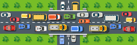 Top view from city street with asphalt and transport. Urban landscape of the big place  イラスト・ベクター素材