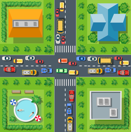 city view: Top view from city street with asphalt and transport. People walking down the sidewalk, intersecting the road at a pedestrian crossing. Urban landscape of the big place Illustration