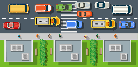 city: Top view from city street with asphalt and transport. People walking down the sidewalk, intersecting the road at a pedestrian crossing. Urban landscape of the big place Illustration
