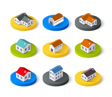 3d icons: Set of isometric 3D icons house home. Residence building the city landscape three-dimensional vector symbol concept Illustration