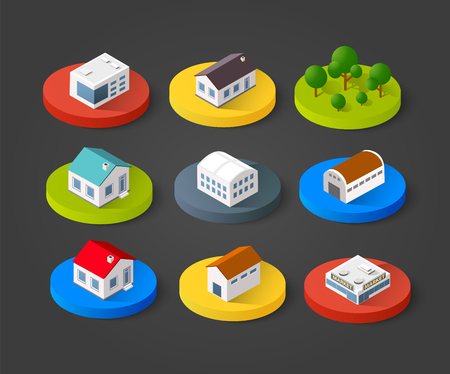 Jogo dos ícones 3D isométrico casa. Residence construir a paisagem da cidade tridimensional conceito símbolo vetor Banco de Imagens - 68977235