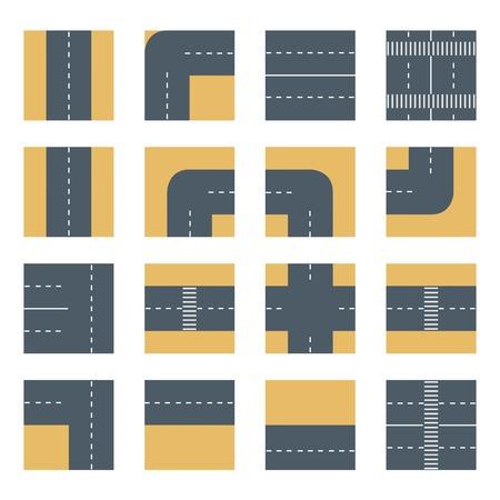 Flat bovenaanzicht Set pictogrammen weg snelweg. Concept set van design elementen voor het modelleren van stedelijke vector kaarten en plannen