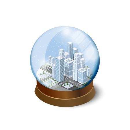 Christmas ball winter snowbound landscape 3d isometric urban city infographic concept. Town center map with buildings,shops and roads on the plane. Illustration
