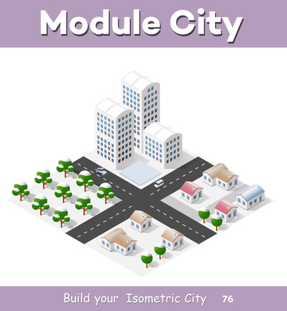 office building: Christmas winter snowbound landscape 3d isometric urban city infographic concept. Town center map with buildings,shops and roads on the plane.