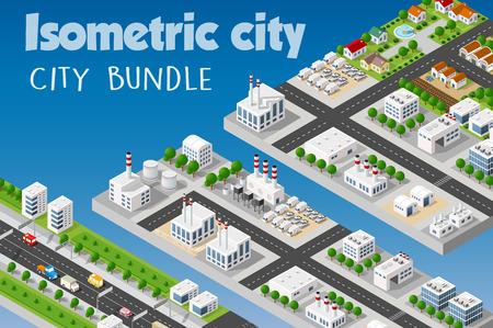 Isometrische set van de moderne 3D-stad. Landschap bomen, straten. Driedimensionale uitzichten van wolkenkrabbers, huizen, gebouwen en stedelijke gebieden met vervoerswegen, kruispunten