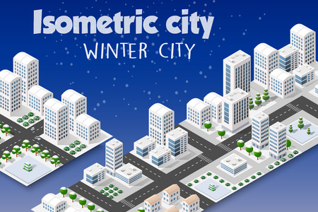 Isometric set of the modern 3D city. Winter landscape snowy trees, streets. Three-dimensional views of skyscrapers, houses, buildings and urban areas with transport roads, intersections