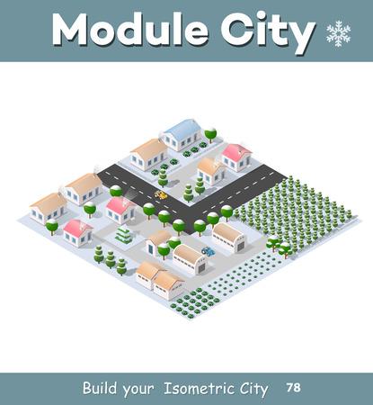Isometrische module van de moderne 3D-stad. Winterlandschap besneeuwde bomen, straten. Driedimensionale weergaven van huizen, gebouwen en stedelijke gebieden met transportwegen, kruispunten Stock Illustratie