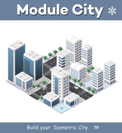 Isometrische module van de moderne 3D-stad. Winterlandschap besneeuwde bomen, straten. Driedimensionale uitzicht op wolkenkrabbers, huizen, gebouwen en stedelijke gebieden met transport wegen, kruispunten