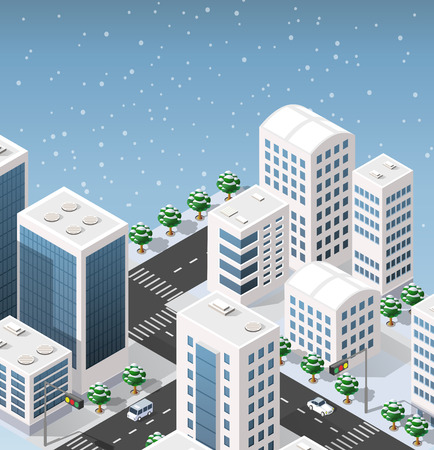 Isometric illustration of the modern 3D city. Winter landscape snowy trees, streets. Three-dimensional views of skyscrapers, houses, buildings and urban areas with transport roads, intersections Illustration