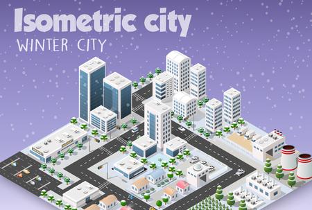 Isometrische module van de moderne 3D-stad. Winterlandschap besneeuwde bomen, straten. Driedimensionale weergaven van wolkenkrabbers, huizen, gebouwen en stedelijke gebieden met transportwegen, kruispunten
