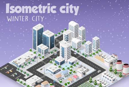 Isometric module of the modern 3D city. Winter landscape snowy trees, streets. Three-dimensional views of skyscrapers, houses, buildings and urban areas with transport roads, intersections Illustration