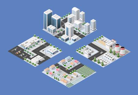 Set di moduli isometrici della moderna città 3D. Paesaggio invernale alberi innevati, strade. Viste tridimensionali di grattacieli, case, edifici e aree urbane con strade di trasporto, incroci Archivio Fotografico - 67192293