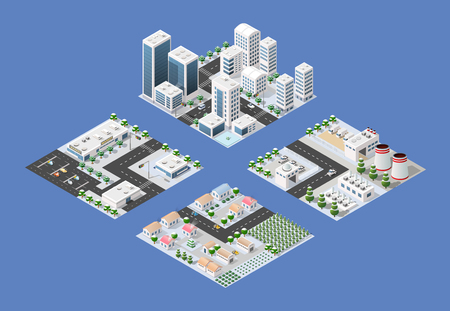 Set of isometric module of the modern 3D city. Winter landscape snowy trees, streets. Three-dimensional views of skyscrapers, houses, building and urban areas with transport roads, intersections