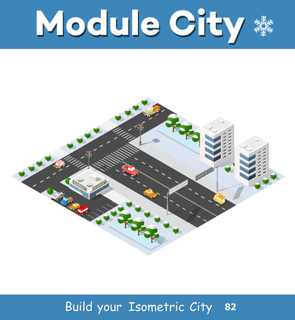 Isometric module of the modern 3D city. Winter landscape snowy trees, streets. Three-dimensional views of skyscrapers, houses, buildings and urban areas with transport roads, intersections Illusztráció