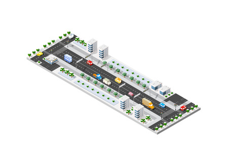 road construction: Isometric module of the modern 3D city. Winter landscape snowy trees, streets. Three-dimensional views of urban areas with transport roads, intersections Illustration