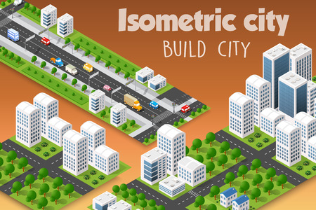 Isometric set of the modern 3D city. Landscape trees, streets. Three-dimensional views of skyscrapers, houses, buildings and urban areas with transport roads