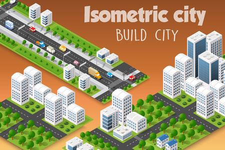 Isometrische set van de moderne 3D-stad. Landschapsbomen, straten. Driedimensionale weergaven van wolkenkrabbers, huizen, gebouwen en stedelijke gebieden met transportwegen Stock Illustratie
