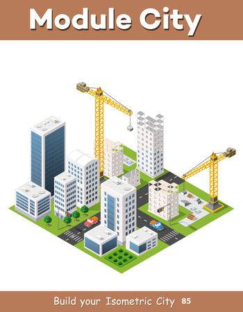 Construction crane heavy industrial industry with skyscrapers, houses, streets. Urban modern quarter of the city. Isometric view of the projection landscape Illustration