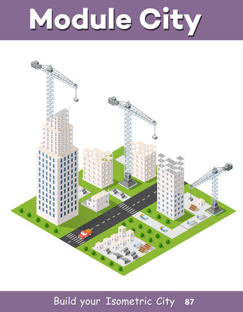 heavy industry: Construction crane heavy industrial industry with skyscrapers, houses, streets. Urban modern quarter of the city. Isometric view of the projection of the landscape