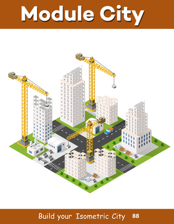 Construction crane heavy industrial industry with skyscrapers, houses, streets. Urban modern quarter of the city. Isometric view of the projection of the landscape
