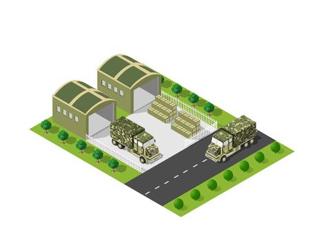 防衛: A military truck army vehicle transport in camouflage color disguise. Isometric stock picture truck