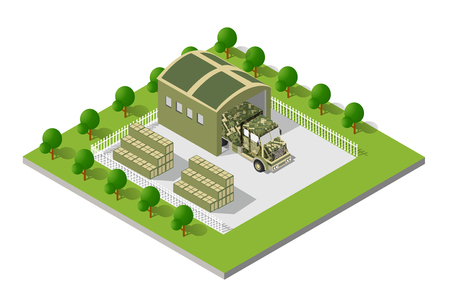 defence: A military truck army vehicle transport in camouflage color disguise. Isometric stock picture truck vector