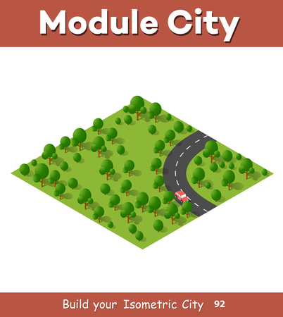 suburban: Isometric view projection summer landscape. Suburban highway road turn. Nature view of forest with trees