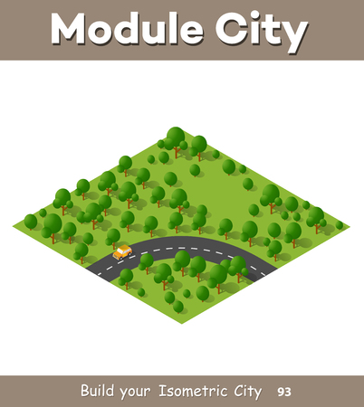 Isometric view projection summer landscape. Suburban highway road turn. Nature view of forest with trees
