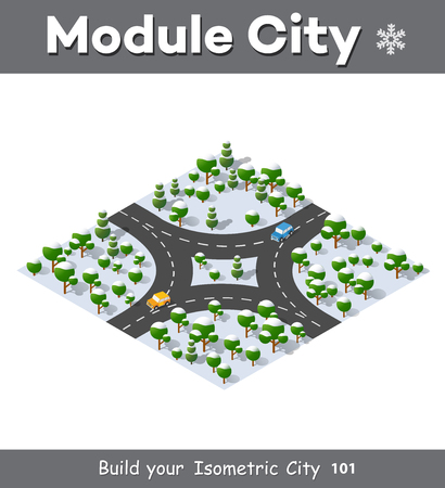 country road: Suburban highway road turn. Isometric view of the projection of a winter landscape. Nature view of forest with trees Illustration