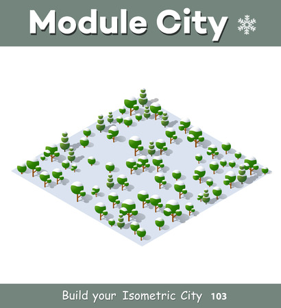winter tree: Isometric view projection of winter landscape. Nature view of forest with trees Illustration