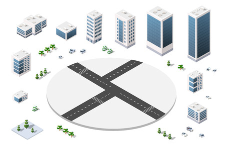 road construction: A large set of isometric urban objects. A set of urban buildings, skyscrapers, houses, supermarkets, roads and streets